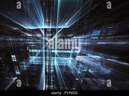 Résumé Contexte La technologie de l'avenir - computer-generated image 3D. Fractale: verre prix ou la rue de la ville surréaliste avec les effets de lumière. Hi-tech ou Banque D'Images
