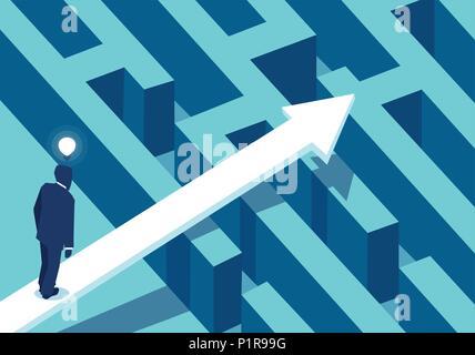 Vector illustration of businessman dans la perplexité, debout près de la flèche suivant labyrinthe à succès. Banque D'Images