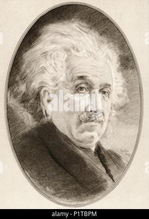 Albert Einstein, 1879 - 1955. Physicien théorique d'origine allemande qui a développé la théorie de la relativité. Illustration par Gordon Ross, artiste et illustrateur américain (1873-1946), de vivre des biographies de grands scientifiques. Banque D'Images