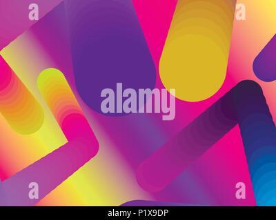 Forme de dégradé. Arrière-plan géométrique moderne et colorée. 3d abstrait composition. Vector illustration Banque D'Images