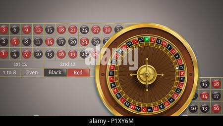 Roulette avec numéros de table Banque D'Images