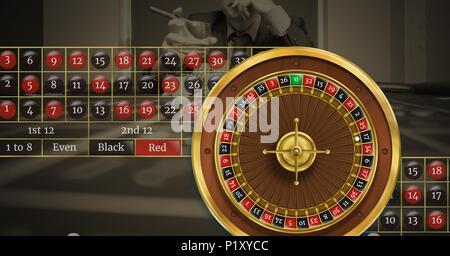 La roulette et les numéros de table en face de l'arrière-plan casino Banque D'Images