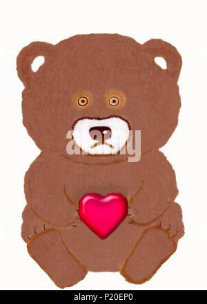 Jouet peint coeur avec un ours