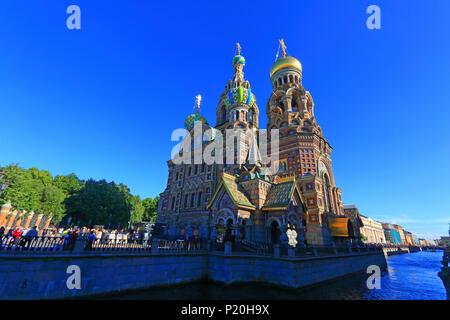 La Russie, St-Pétersbourg. L'église orthodoxe Banque D'Images