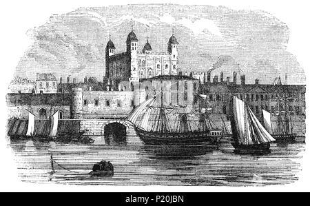 La Tour de Londres, officiellement le palais royal et forteresse de la Tour de Londres, à la fin du 15e siècle. Elle a été fondée vers la fin de 1066 dans le cadre de la conquête normande de l'Angleterre. Il a été utilisé comme prison de 1100, même si ce n'était pas son but principal - au début de son histoire, il a servi de résidence royale. Le célèbre meurtre des Princes dans la tour est traditionnellement admis avoir eu lieu lorsque l'oncle Edward V Richard, Duc de Gloucester a été déclaré Lord Protecteur tandis que le prince était trop jeune pour régner. Banque D'Images