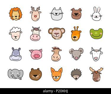 Cartoon vector illustration télévision animaux mignons de visages pour bébé et carte invitation Banque D'Images