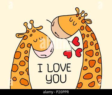 Mignon deux girafes sur fond isolé jaune. Carte Cartoon vector illustration d'animaux couple télévision Banque D'Images