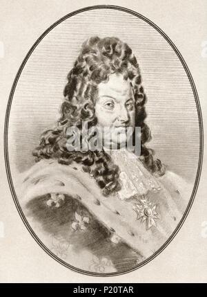 Louis XIV, 1638 - 1715, alias Louis le Grand ou le Roi Soleil. Roi de France. Illustration par Gordon Ross, artiste et illustrateur américain (1873-1946), de la vie des dirigeants. Banque D'Images
