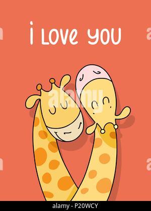 Couple de deux girafes mignon isolé sur fond rouge. Je vous aime vector cartoon illustration poster Banque D'Images