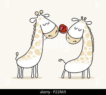 Couple de deux êtres cute dans les girafes. Bonne Saint-Valentin vector cartoon illustration poster Banque D'Images