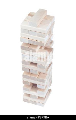Bloc en bois Jeu de bureau tour isolé sur fond blanc. Banque D'Images