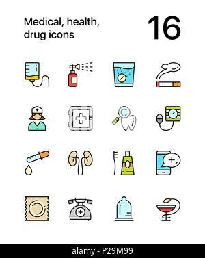 Les couleurs, la santé, l'icônes pour le web et les terminaux mobiles pack 3 Banque D'Images