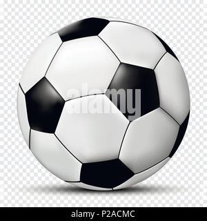 Le football ou soccer ball isolé sur fond transparent. Vector illustration. Banque D'Images