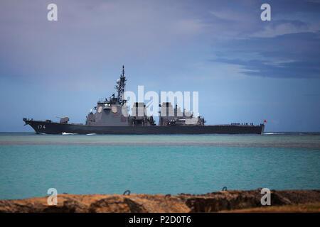 . ???:?????????????????????2014????? Nederlands: De torpedojager japonais Kirishima (DDG-174) vertrekt uit Pearl Harbor voor deelname aan de internationale oefening RIMPAC 2014. Canon EOS 5D Mark III + EF70-200mm F2.8L USM . 7 juillet 2014. Chantell Bianchi, Marine royale australienne 28 JS Kirishima (DDG-174) vertrekt uit Pearl Harbor voor deelname aan de RIMPAC 2014, -7 juli 2014 un Banque D'Images