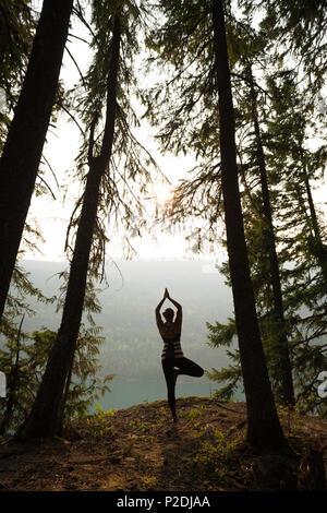 Fit woman performing exercice s'étendant dans une luxuriante forêt verte Banque D'Images