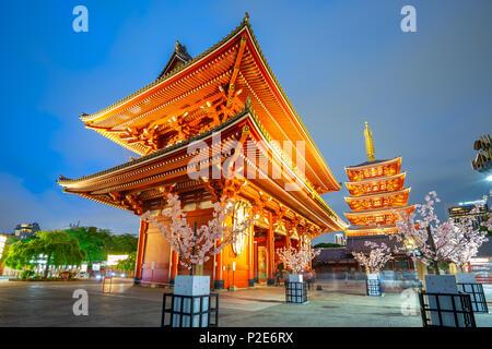 Nuit dans la ville de Tokyo avec Temple Sensoji à Tokyo, Japon. Banque D'Images