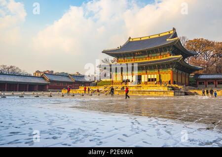 Au coucher du soleil dans le Palais Changdeokgung Séoul, Corée. Banque D'Images
