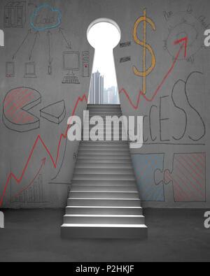 Escaliers avec des gribouillages et forme de clé sur porte mur en béton Banque D'Images
