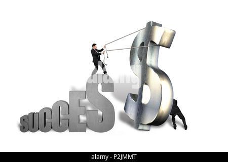 Hommes d'essayer de se grand symbole de l'argent à succès isolé en fond blanc Banque D'Images