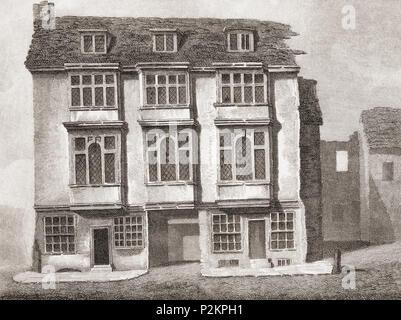 La Taverne Falcon sur le Bankside, Southwark, London, Angleterre tel qu'il était en 1805. Le lecteur de Shakespeare, publié 1916