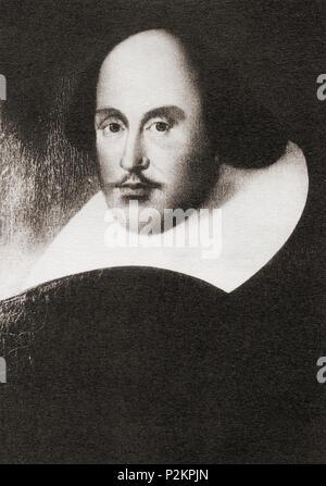 """William Shakespeare, 1564 - 1616. Anglais, poète, dramaturge et acteur. Connu sous le nom de """"Ely Palace' portrait comme il a appartenu à Thomas Turton, évêque d'Ely, jusqu'en 1864. Le lecteur de Shakespeare, publié 1916 Banque D'Images"""