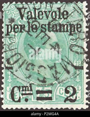 """. Cachet du Royaume d'Italie; 1890; parcel stamp de la soi-disant """"problème Valevole' = parcelle de 1884 timbres à l'effigie du roi Humbert Ier d'Italie à l'article 4 lignes ovales avec """"surimpression / Valevole per le stampe / coupé,coupé / CMI, double-coupé, 2'; dans le cachet de Pignataro Maggiore en 1891 Stamp: Michel: n° 64 (= No pk4 à partir de 1884 avec la surimpression); référence Yvert et Tellier: n° 49 Couleur: vert pâle à vert bleuté avec filigrane surimpression du noir: italie n° 1 (couronne) Valeur nominale: 2 CMI (Centesimi) Validité: envoi du 1er décembre 1890 jusqu'au 31 décembre 1891 Stamp taille image (zone imprimée): 22."""