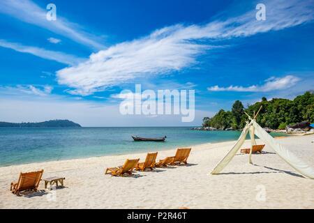 La Thaïlande, province de Phang Nga, Parc national marin de Tarutao, Ko Adang, la plage d'Adang Resort Hotel Banque D'Images