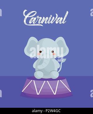 La conception du cirque carnaval avec l'éléphant mignon sur fond violet, design coloré. vector illustration