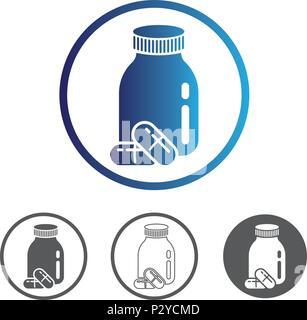 Médicaments comprimés avec bouteille. La ligne du contour de couleur icône vecteur plate. Différentes variations pour le site web ou l'app l'infographie. Banque D'Images