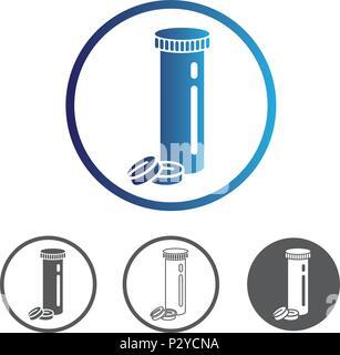 Comprimés de médicaments avec le tube. La ligne du contour de couleur icône vecteur plate. Différentes variations pour le site web ou l'app l'infographie. Banque D'Images