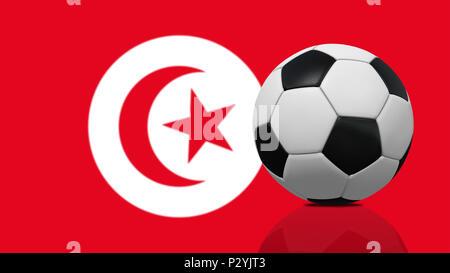 Ballon de football réaliste sur fond du drapeau de la Tunisie. Banque D'Images