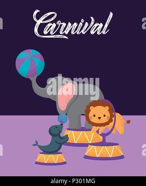 La conception du cirque carnaval avec mignon l'éléphant, le lion et le joint sur fond violet, design coloré. vector illustration