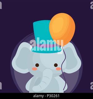 La conception du cirque carnaval avec l'éléphant mignon avec top hat et ballon sur fond violet, design coloré. vector illustration