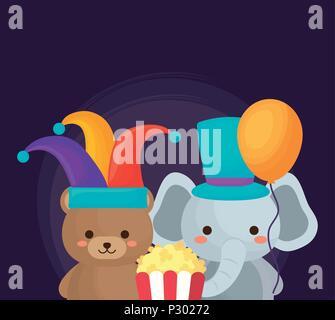 La conception du cirque carnaval avec mignon et éléphant ours avec pop corn sur fond violet, design coloré. vector illustration