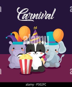 Carnival circus design avec des animaux marrants avec pop corn et des ballons sur fond violet, design coloré. vector illustration