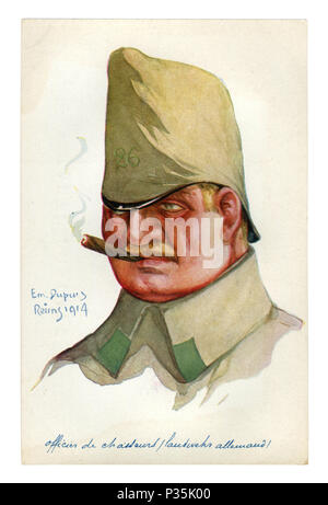 Carte postale historique français: officier allemand de la Jaeger avec un cigare dans la bouche, avec le numéro d'unité sur le capot de la PAC. la première guerre mondiale 1914