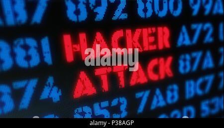 Cyber-attaque et attaque de hacker concept. Alerte rouge, l'alerte et l'écran à la mode illustration stylisée. Banque D'Images