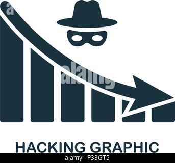 Hacking diminuer icône graphique. Application pour mobile, l'impression, l'icône du site web. L'élément simple à chanter. Hacking monochrome diminuer icône graphique illustration. Banque D'Images