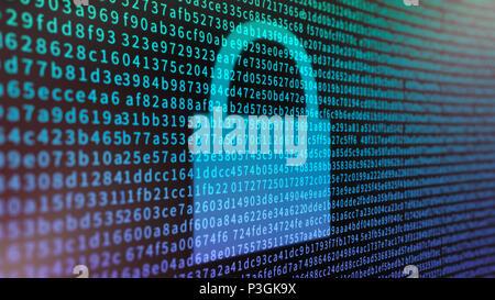Concept de chiffrement de données avec un écran rempli d'informations et de cadenas hexadécimal Banque D'Images