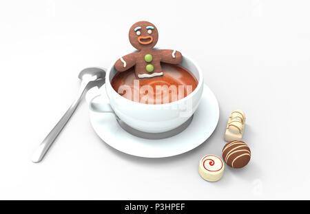 Gingerbread cookie man dans une tasse de café chaud avec différents chocolats sur fond blanc Banque D'Images