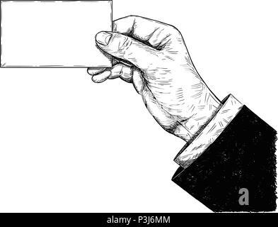Dessin Artistique vecteur Illustration de Hand Holding Blank Business Card Banque D'Images
