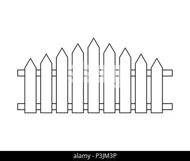 Clôture en bois . Conception simple contours isolated on white Banque D'Images