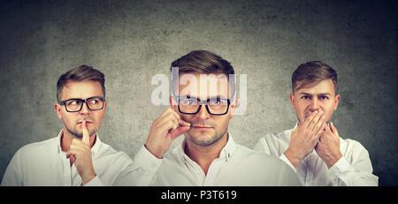 Garder un secret se taire concept. Trois homme secret garder bouche fermée. Banque D'Images