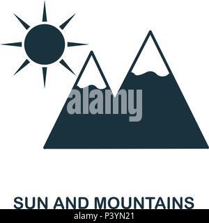 Soleil et montagnes icône. Application pour mobile, l'impression, l'icône du site web. L'élément simple à chanter. Sun et l'icône monochrome montagnes illustration. Banque D'Images