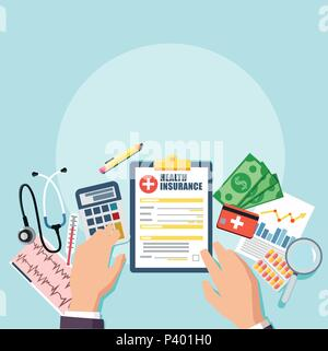 Vue supérieure du médecin ou de l'hôpital responsable entreprise de travail. Stéthoscope médical, pilules, presse-papiers avec carte patient contrat d'assurance, de l'argent. Je vecteur