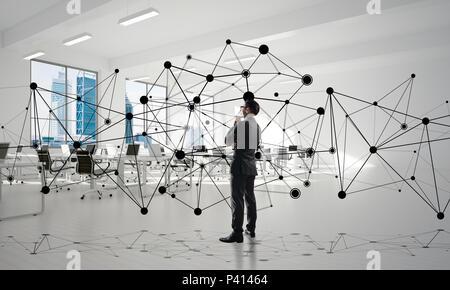 La mise en réseau et la communication sociale concept comme point efficace pour l'entreprise moderne
