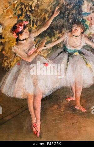 Peinture de deux danseurs sur une scène par Edgar Degas datée 1879