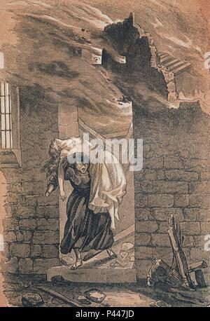 POBRES Y RICOS - LA BRUJA DE MADRID - GRAVURE SIGLO XIX. Auteur: Wenceslao Ayguals de Izco (1801-1875). Emplacement: BIBLIOTECA NACIONAL-COLECCION, MADRID, ESPAGNE. Banque D'Images