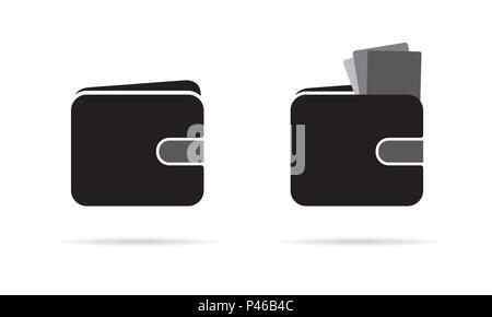 Ensemble d'icônes de portefeuille billets ou avec des cartes de crédit avec l'ombre, isolé sur fond blanc - vector Banque D'Images