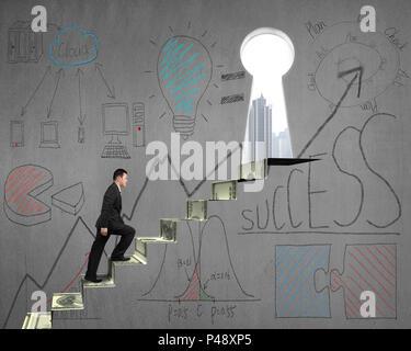 Grimper sur les escaliers de l'argent avec concept d'affaires doodles sur mur de béton Banque D'Images
